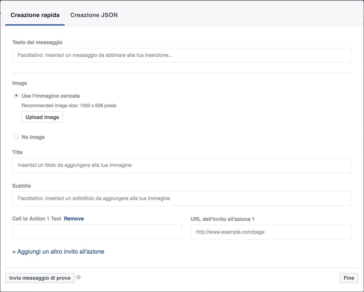 Creazione messaggio strutturato Facebook
